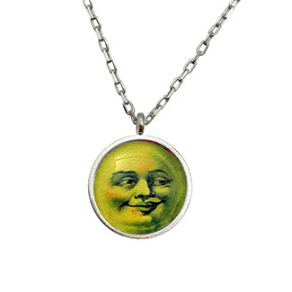 Man in the Moon Face with Flying Witch Charm and Purple Heart Bead Necklace