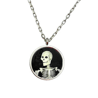 Smiling Skeleton with Bat Charm and Purple Heart Bead Necklaces