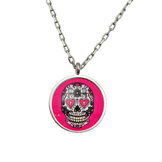 Calavera, Sugar Skull, Day of the Dead Necklace in 2 Settings and 3 Colors