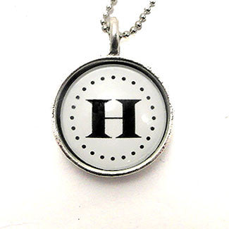 Monogram- Small Sterling Silver Plate Black on White Backgound Necklace