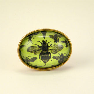 Green Bee - Scientific Honey Bee Engraving Brooch