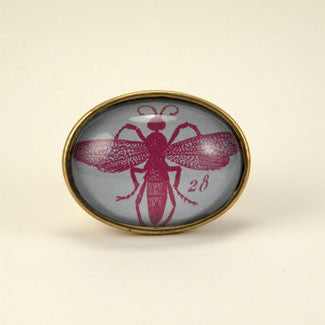 Beautiful Purple Wasp Scientific Engraving Brooch