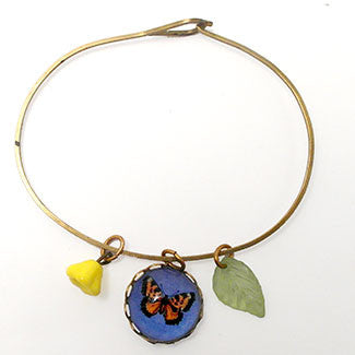 Butterfly on Blue Background , Leaf & Yellow Bell Bead Charm Jewelry