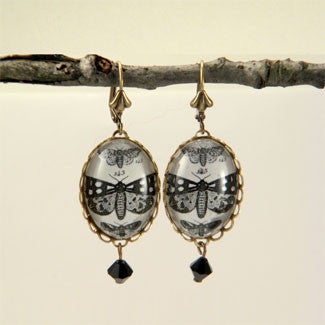 Speckled Wings and Flying Things Moth Vintage Engraving Earrings