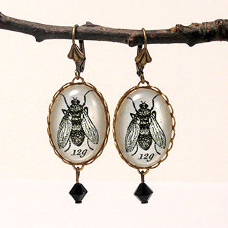 Flies in the Honey - Scientific Engraving of a Fly Earrings