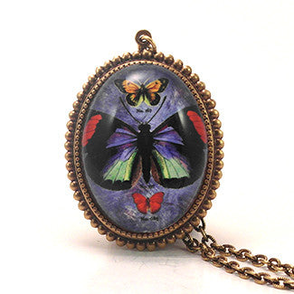 Zephyr Butterfly with Blue Background Pendant Necklace