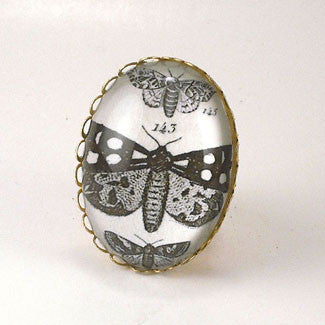 Speckled Wings and Flying Things Moth Vintage Engraving Cocktail Ring