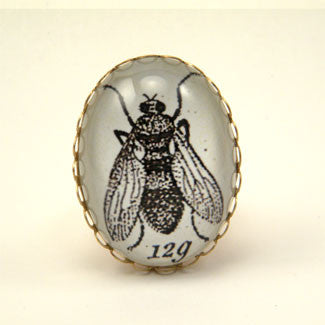 Flies in the Honey - Scientific Engraving of a Fly Cocktail Ring