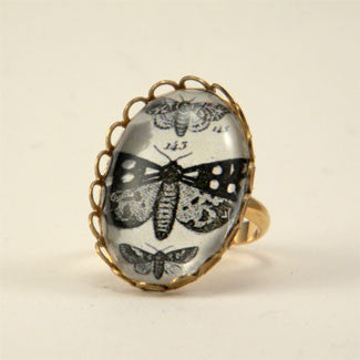 Speckled Wings and Flying Things Moth Vintage Engraving Petite Ring