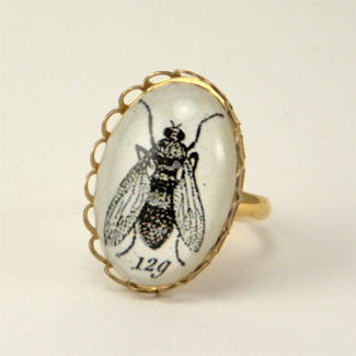 Flies in the Honey - Scientific Engraving of a Fly Petite Ring