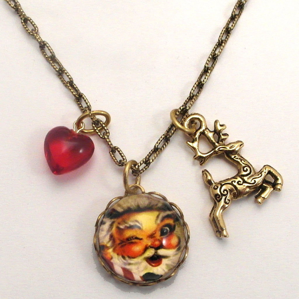 Santa - Good Old St. Nick Holiday Charm Necklace