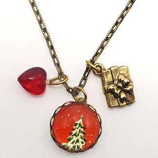 O' Tannenbaum Holiday Snowy Evergreen Tree Charm Necklace