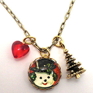 Big Snowman Winter Holiday Jewelry Charm Necklace