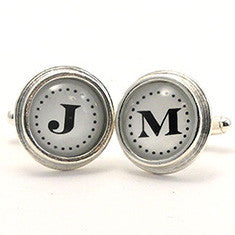 Monogram _ Cuff Links Sterling Silver Plate Black Letters on White Background