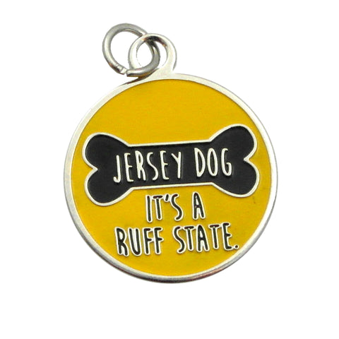 "A Dog Collar Charm, Jersey Dog ""It's a Ruff State"""