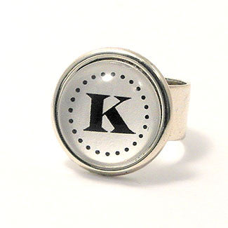 Monogram - Small Sterling Silver Plate White Background Adjustable Ring