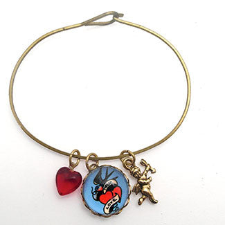 True Love with Cupid Charm with Red Heart Bead Jewelry