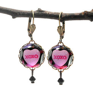 XOXO Sweet Heart Candy 15mm Round Earrings