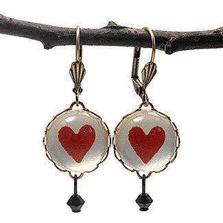 Red Heart 15mm Round Earrings