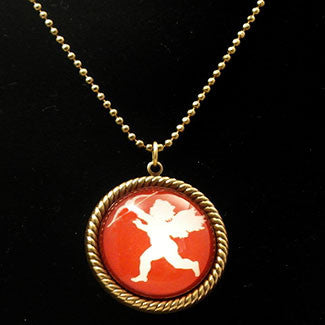White Cupid with Red Background 25mm Round Necklace
