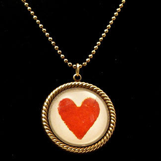 Vintage Red Heart Pendant Necklaces