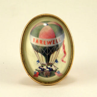 Farewell Hot Air Balloon Vintage Illustration Brooch