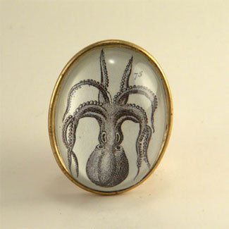 I'm All Arms - Vintage Octopus Engraving Brooch