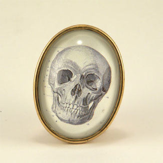 To Be Or Not To Be Skull Vintage Anatomical Engraving Brooch