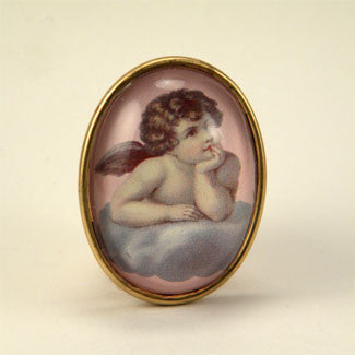 Cloud 9 Cherub Vintage Illustration Brooch