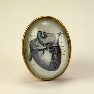If I Only Had A Heart - Anatomical Heart Engraving Brooch