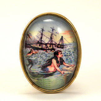 Over The Waves Mermaid Nautical Image Brooch