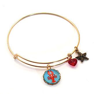 Red Lobster with Star Fish and a Red Heart Bead Charm Bracelet