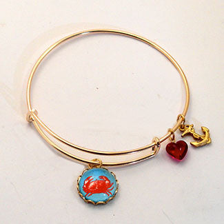 Red Crab with Anchor Charm and a Red Heart Bead