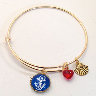 Blue Anchor with Scallop Shell Charm and a Red Heart Bead