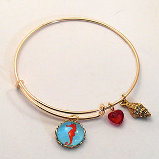 Red Sea Horse with Sea Shell Charm and a Red Heart Bead Charm Bracelet
