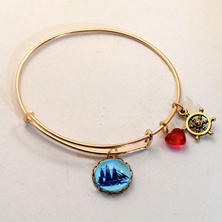Sailing Ship with Captain's Wheel Charm and a Red Heart Bead Charm Bracelet