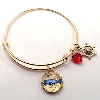 NCCHBR44. Whale Engraving with Ship's Wheel Charm and a Red Heart Bead