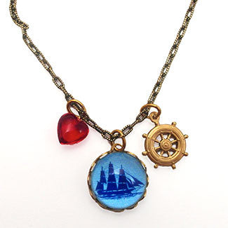 Sailing Ship with Captain's Wheel Charm and a Red Heart Bead Charm Necklace