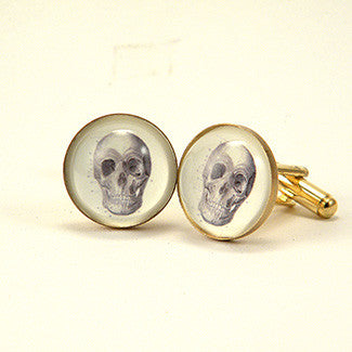 To Be Or Not To Be Skull Vintage Anatomical Engraving Cuff Links