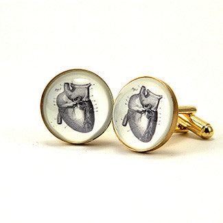 If I Only Had A Heart - Anatomical Heart Engraving Cuff Links