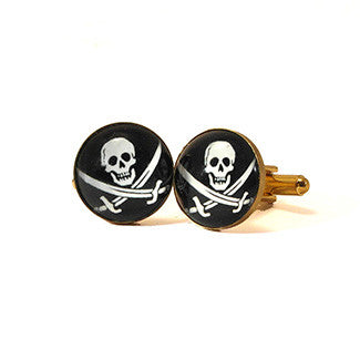 Jolly Roger Skull and Swords Pirate Cuff Links