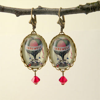 Farewell Hot Air Balloon Vintage Illustration Earrings