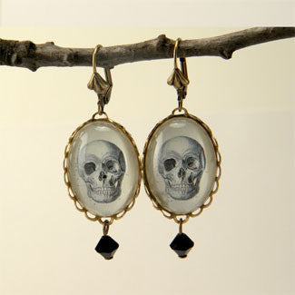 To Be Or Not To Be Skull Vintage Anatomical Engraving Earrings