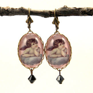 Cloud 9 Cherub Vintage Illustration Oval Earrings