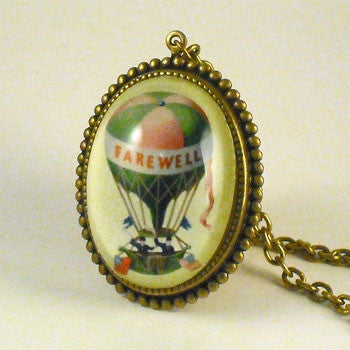 Farewell Hot Air Balloon Vintage Illustration Pendant Necklace