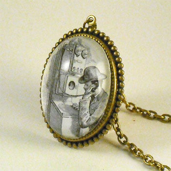 Hello Operator Vintage Old Phone Illustration Pendant Necklace
