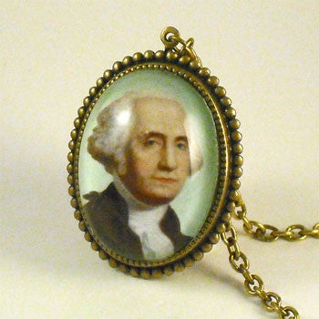 George Can't Tell A Lie - George Washington Portrait Pendant Necklace