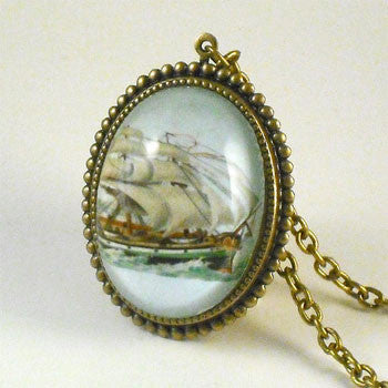 Smooth Sailing Clipper Ship Deluxe Pendant Necklace
