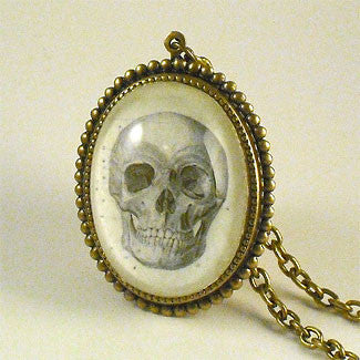 To Be Or Not To Be Skull Vintage Anatomical Engraving Deluxe Pendant Necklace