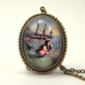 Over The Waves Mermaid Nautical Image Pendant Necklace